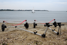 2 Dynamic boat launching dollies on the beach
