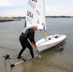 Launching boat off Dynamic Dolly